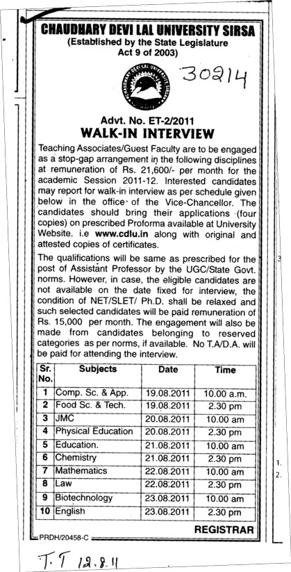 Guest Faculty required for BTech (Chaudhary Devi Lal University CDLU)