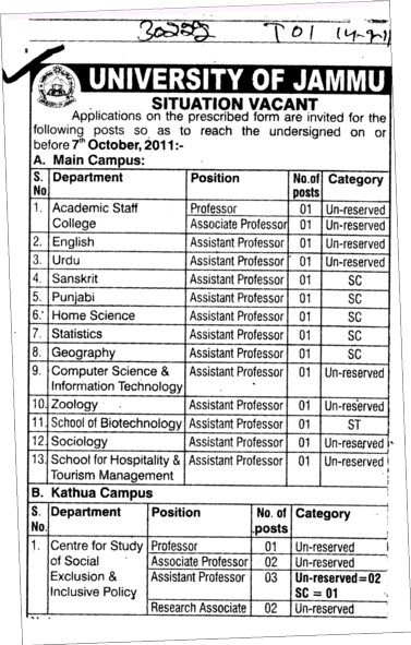 Academic Staff and Lecturer in Punjabi and Sanskrit etc (Jammu University)
