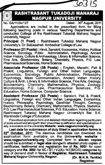 Principal Professor and Assistant professor etc (Rashtrasant Tukadoji Maharaj Nagpur University)
