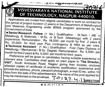 Senior research Fellow and Technical Assistant etc (Visvesvaraya National Institute of Technology (VNIT))