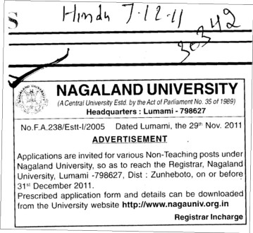 Non teaching post under Nagaland University (Nagaland University)