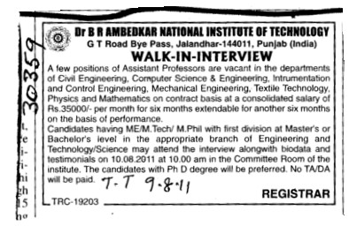 Assistant Professor for BTech (Dr BR Ambedkar National Institute of Technology (NIT))