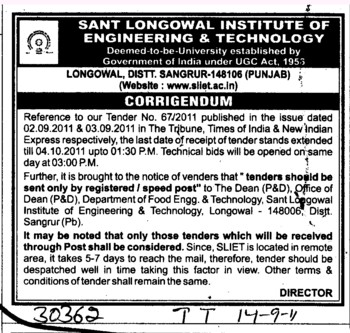 Change in the Tender (Sant Longowal Institute of Engineering and Technology SLIET)