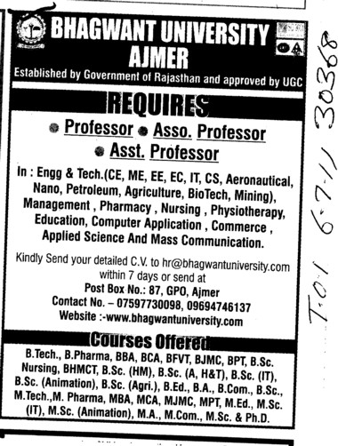 Professors Associate Professors Lecturers and Reader (Bhagwant University)