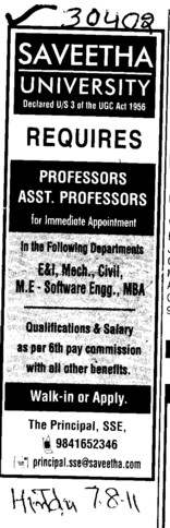 Professors Associate Professors Lecturers and Reader (Saveetha University)