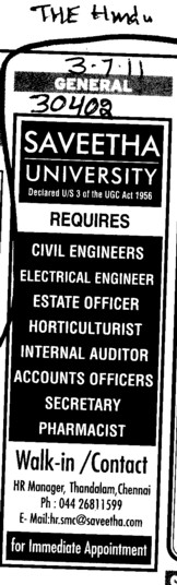 Requires BTech Engineers (Saveetha University)