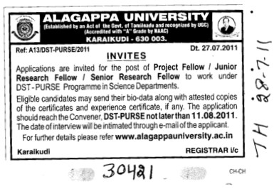 Project Fellow and Research Fellow etc (Alagappa University)