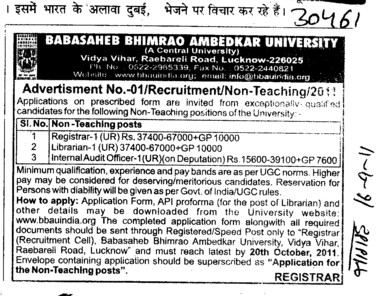 Registrar and Librarian etc (Babasaheb Bhimrao Ambedkar University)