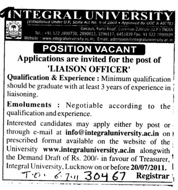 Liaison Officer required (Integral University)