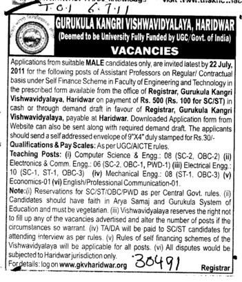 Assistant Professor on regular basis (Gurukul Kangri Vishwavidyalaya)