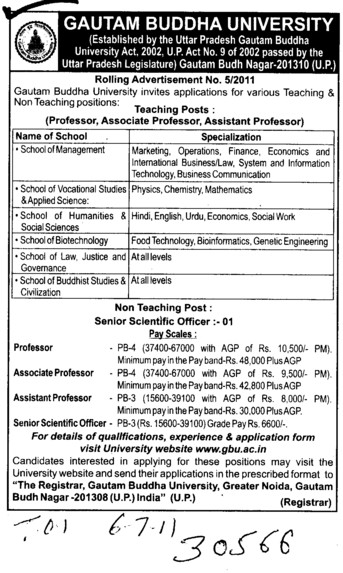 Professors Associate Professors Lecturers and Assistant Professors etc (Gautam Buddha University (GBU))
