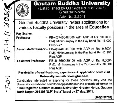 Professors Associate Professors Lecturers and Reader (Gautam Buddha University (GBU))