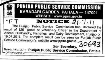 Veterinary Officer required (Punjab Public Service Commission (PPSC))