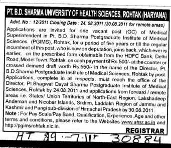Medical Suprintendent (Pt BD Sharma University of Health Sciences (BDSUHS))