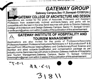 Professors Associate Professors Lecturers and Reader (Gateway College of Architecture and Design)