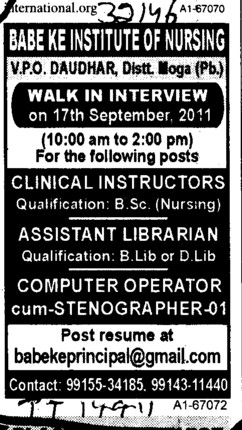 Clinical Instructor and Assistant Librarian etc (Babe Ke Institute of Nursing)