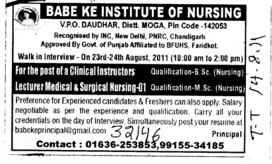 Clinical Instructor and Surgical Nursing etc (Babe Ke Institute of Nursing)