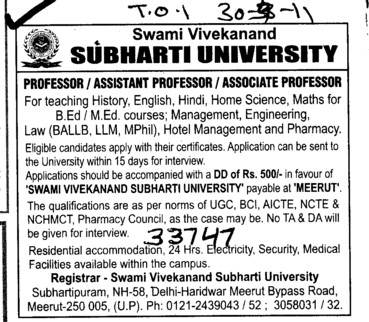 Professors Associate Professors Lecturers and Reader (Swami Vivekanand Subharti University)