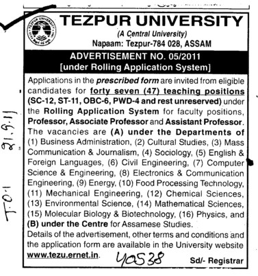 Professors Associate Professors Lecturers and Reader (Tezpur Central University)