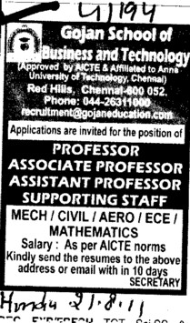 Professors Associate Professors Lecturers and Reader (Gojan School of Business and Technology)