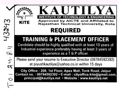 Training and Placement Officer and Resident Warden etc (Kautilya Institute of Technology and Engineering)