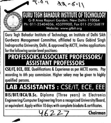 Professors Associate Professors Lecturers and Reader (Guru Teg Bahadur Institute of Technology)