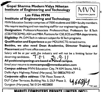 Professors Associate Professors Lecturers and Reader (Gopal Sharma Modern Vidya Niketan Institute of Engineering and Technology)
