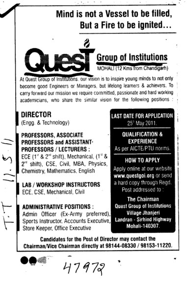 Director Professors Associate Professors Lecturers and Assistant Professors etc (Quest Group of Institutions)