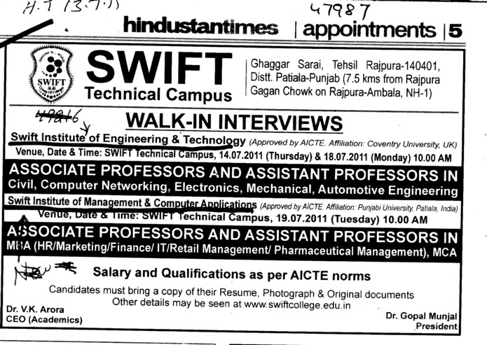 Associate Professor and Assistant Professor required (Swift Group of College (SGOC))