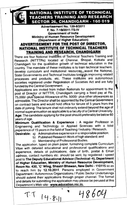 Director and Technical Teachers required (NITTTR)