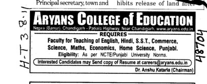 Faculty for English Math and Science etc (Aryans College of Education)