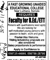 Faculty for BEd (Sadbhavna College of Education for Women)