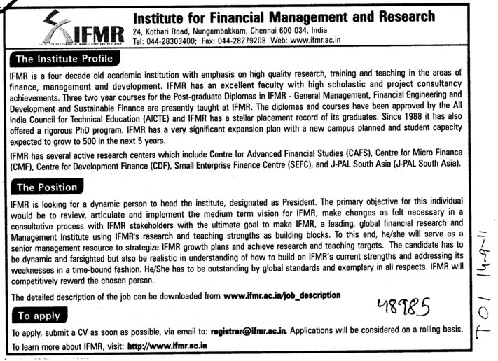 High Quality Research Training and Teaching Staff etc (Institute for Financial Management and Research (IFMR))