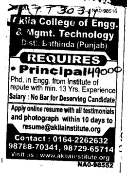 Principal required (Aklia Institute of Engineering and Technology)