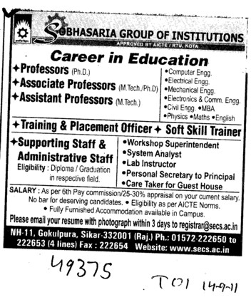 Professors Associate Professors Lecturers and Assistant Professors etc (Sobhasaria Group of Institution)