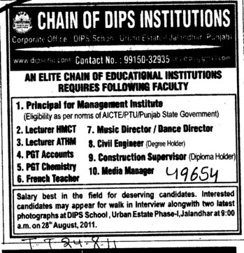 Principal and Lecturer etc (Chain of DIPS Institutions)