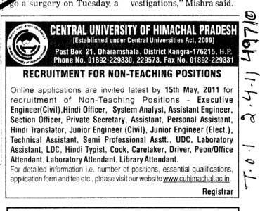 Executive Engineer and Private Secretary etc (Central University of Himachal Pradesh)