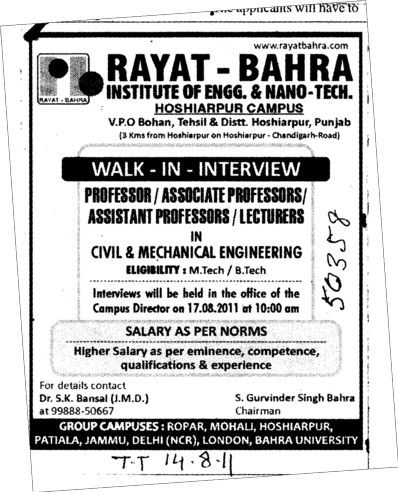Professors Associate Professors Lecturers and Assistant Professors etc (Rayat Bahra Institute of Engineering and Nanotechnology)