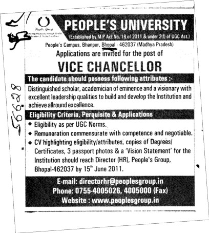 Vice Chancellor required (Peoples University)
