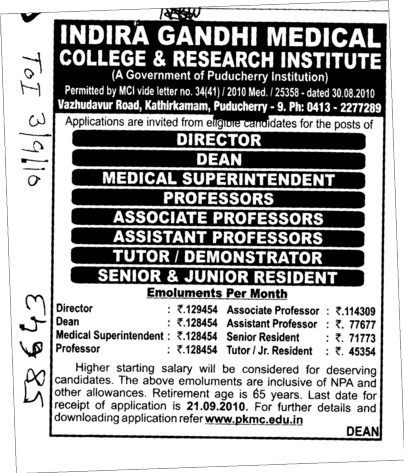 Director Dean Professor and Associate Professor etc (Indira Gandhi Medical College and Research Institute)