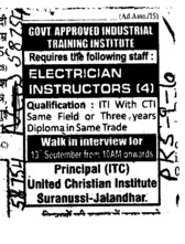 Electrician Instructor etc (United Christian ITC)