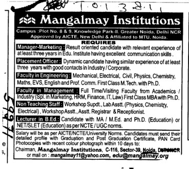 Placement Manager and Lecturer in BEd (Mangalmay Institutions Group)
