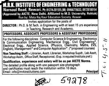 Professors Associate Professors Lecturers and Assistant Professors etc (MRK Institute of Engineering and Technology)