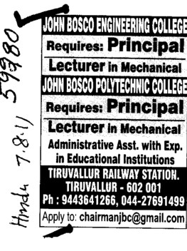 Principal and Lecturers required (John Bosco Engineering College)