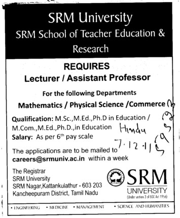 Lecturer and Assistant Professor required (SRM University)