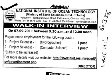Project Scientist for Hydrographer and Computer Science (National Institute of Ocean Technology)