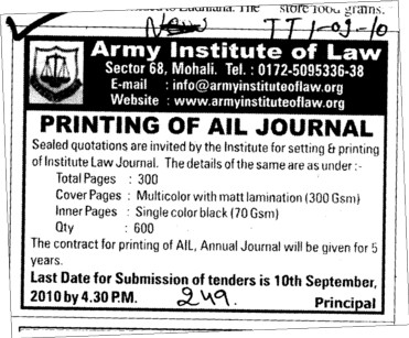 Printing of AIL Journal (Army Institute of Law)