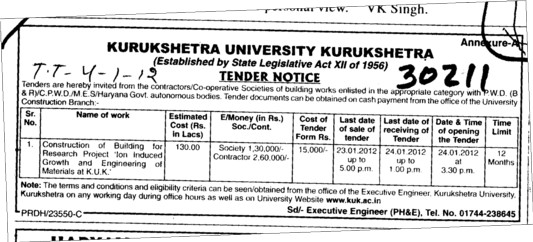 Construction of Buildings for Research Project (Kurukshetra University)