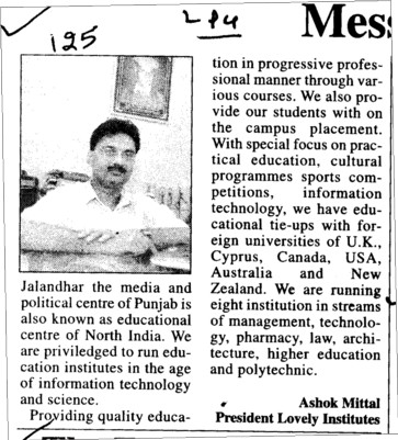 Message of Chairman Ashok Mittal (Lovely Institute of Education)