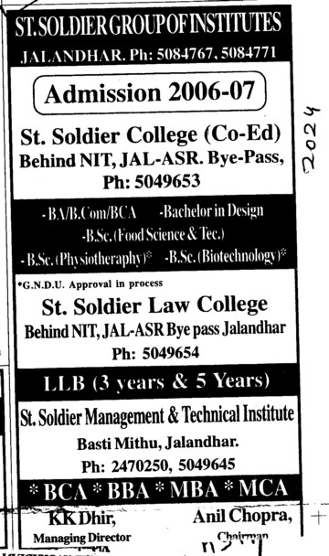 BA BCom BCA and LLB etc (St Soldier Group)